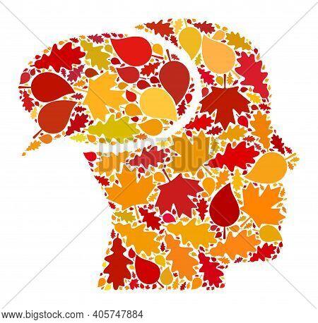 Dream Cloud Mosaic Icon Organized For Fall Season. Raster Dream Cloud Mosaic Is Organized With Scatt
