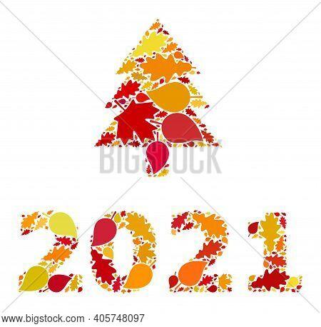 2021 Fir Tree Mosaic Icon Done For Fall Season. Raster 2021 Fir Tree Mosaic Is Done From Scattered A