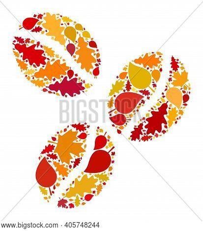 Coffee Beans Mosaic Icon Organized For Fall Season. Raster Coffee Beans Mosaic Is Organized From Ran