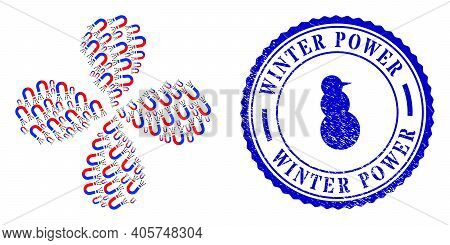 Magnet Force Explosion Flower Cluster, And Blue Round Winter Power Rough Stamp Imitation With Icon I