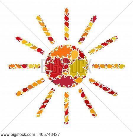 Sun Mosaic Icon Organized For Fall Season. Raster Sun Mosaic Is Organized With Randomized Autumn Map