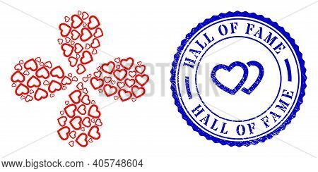 Romantic Heart Centrifugal Flower With Four Petals, And Blue Round Hall Of Fame Rubber Badge With Ic
