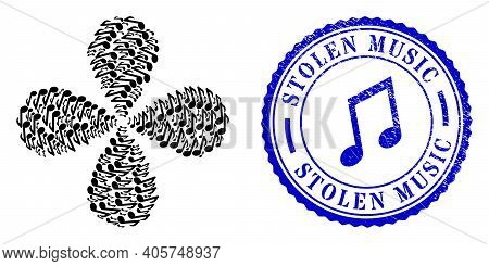 Music Note Centrifugal Abstract Flower, And Blue Round Stolen Music Grunge Stamp Print With Icon Ins