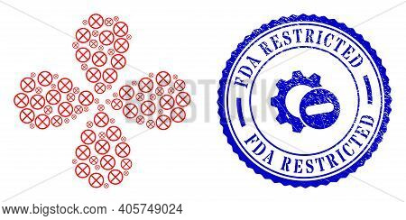 Restricted Curl Flower Shape, And Blue Round Fda Restricted Dirty Stamp With Icon Inside. Element Fl