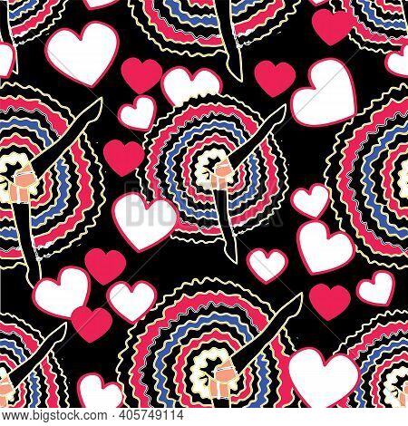 Can Can Dancers With Skirt And Legs Up, White And Pink Hearts On Black Background. Vintage Retro Cab
