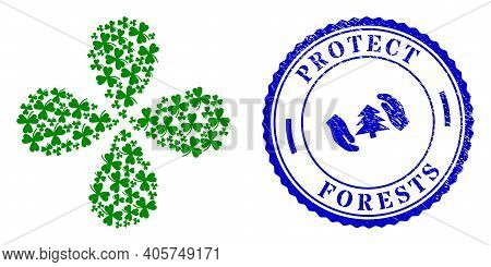 Clover Leaf Curl Flower Shape, And Blue Round Protect Forests Textured Badge With Icon Inside. Eleme