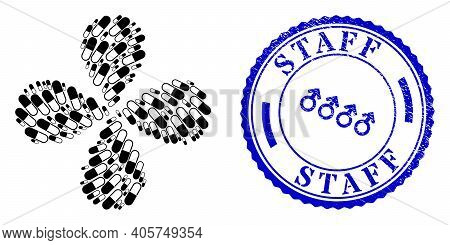 Medical Capsule Swirl Abstract Flower, And Blue Round Staff Unclean Stamp Seal With Icon Inside. Obj
