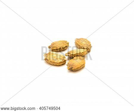 Five Bitter Melon Momordica Charantia Seeds Isolated On White Background