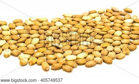Mound Of Handful Bitter Melon Momordica Charantia Seeds Isolated On White With Cutout Space