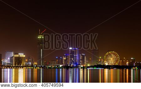 Night Cityscape Over Jinji Lake In Suzhou Jiangsu Province Long Exposure With Rotating Ferris Wheel