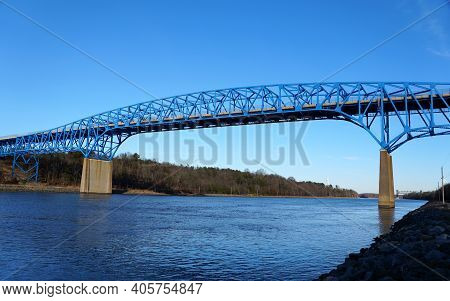 The View Of Summit Bridge Above The Chesapeake Canal Near Middletown, Delaware, U.s.a