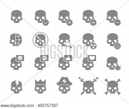 Set Of Human Skulls Grey Icon. Healthy Cranium, Diseases Of Bones Of The Head, Treatment And More.