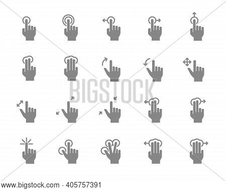 Set Of Touch Screen Gestures Grey Icon. Hand Click, Finger Multi Touch, Cursor Pointer And More.