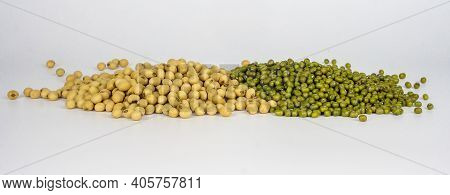 A Pile Of Soy Bean And Mung Bean On White Background