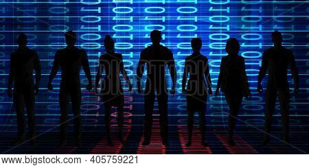 Business People Silhouette Standing Together Technology Success Concept 3d Render