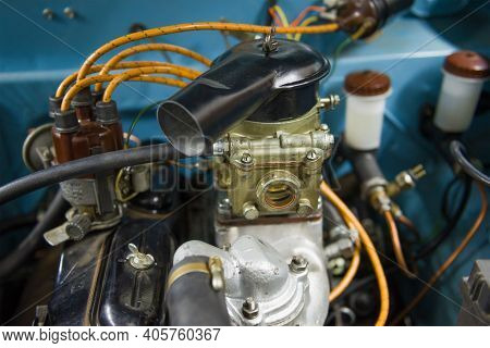 Saint Petersburg, Russia - August 03, 2020: Carburetor Of Soviet Retro Car Moskvich-403 Close Up