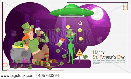 Flat Illustration Banner For Decorating Designs, On The Theme Of The St. Patricks Day Holiday, A Gir