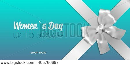 Decorative Silver Bow With Ribbon Womens Day 8 March Holiday Sale Special Offer Concept Greeting Car