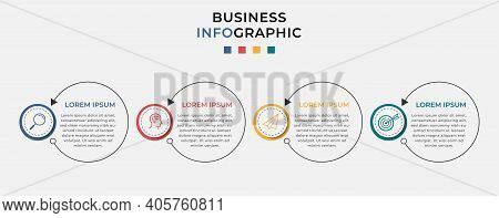 Minimal Business Infographics Template. Timeline With 4 Steps, Options And Marketing Icons