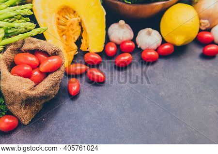 Fresh Organic Vegetables For Cooking Salad. Diet And Healthy Food. Fall Harvest Cornucopia In Autumn