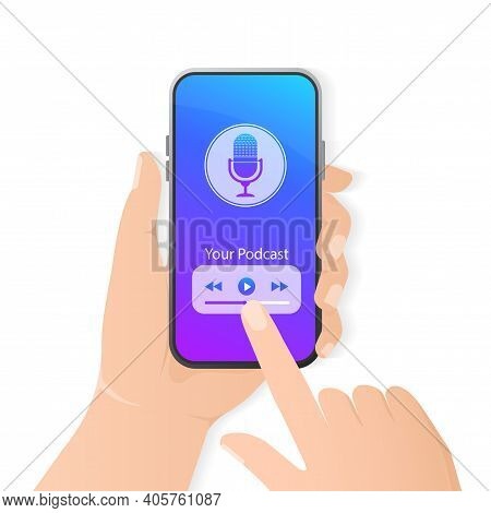 Smartphone Podcast In 3d Style. Creative Cover Design. Modern Mobile App User Interface Concept. Med