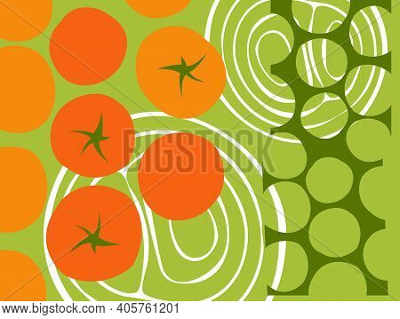 Abstract Vegetable Design In Flat Cut Out Style. Rows Of Tomatoes. Vector Illustration.