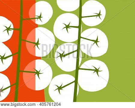 Abstract Vegetable Design In Flat Cut Out Style. Rows Of Cherry Tomatoes On Vine. Vector Illustratio