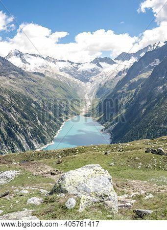 Breathtaking View Of Schlegeisspeicher Glacier Reservoir In Zillertal Alps In Austria