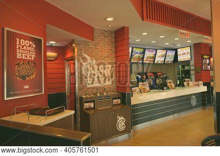 Hua Hin, Thailand - February 25, 2017- Interior Of Burger King Restaurant Located In Hua Hin Thailan