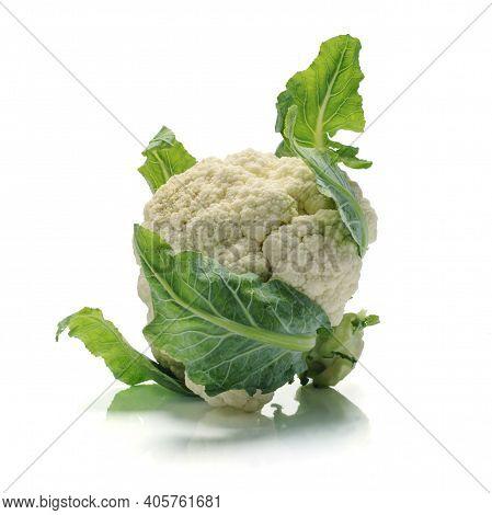 Fresh Cauliflower Isolated On A White Background.