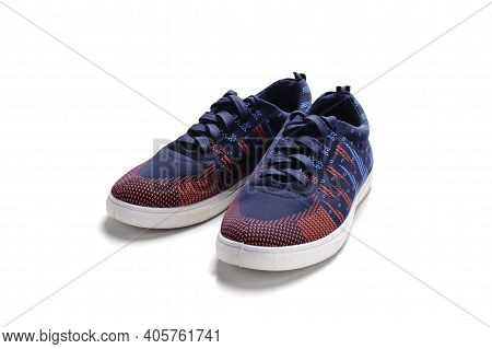 Blue Fashion Sneakers Isolated On A White Background