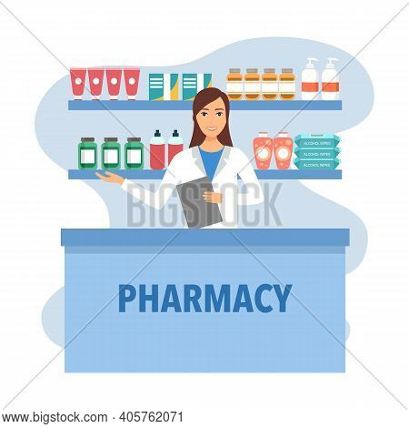 Woman Pharmacist Sells Medicine And Medical Accessories In Pharmacy Or Drugstore In Flat Design. Hea