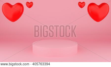 Circle Podium Pink Pastel Color With Red Heart. Valentine's Day Concept. Mock-up Showcase For Produc