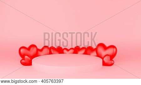 Circle Podium Pinkd Pastel Color Red Heart. Valentine's Day Concept. Mock-up Showcase For Product. 3