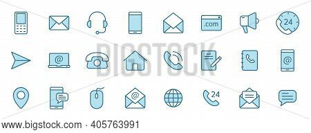 Contact Us Linear Vector Icons In Two Colors Isolated On White Background. Contact Us Blue Icon Set