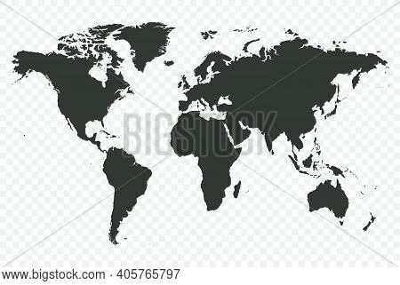 Detailed World Map Detailed Vector Illustration On Transparent
