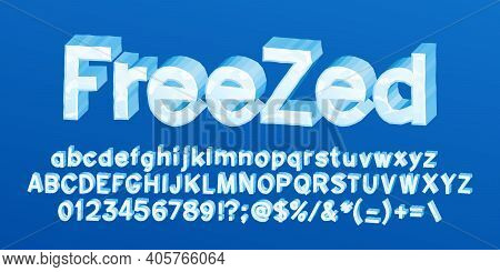 Freezed Alphabet Font. 3d Cartoon Ice Letters, Numbers And Symbols. Uppercase And Lowercase. Stock V