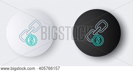 Line Chain Link And Coin Icon Isolated On Grey Background. Link Single. Hyperlink Chain Symbol. Colo