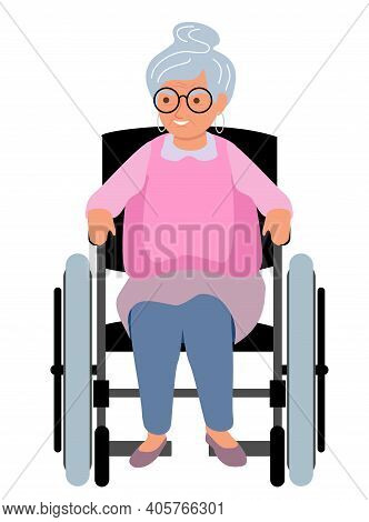 Vector Of A Senior Woman Sitting In Wheelchair. Elderly Woman Sitting In A Wheelchair Flat Illustrat
