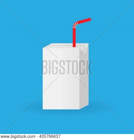 Blank Box Of Juice With Straw, Conceptual Vector