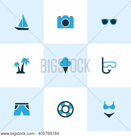 Season Icons Colored Set With Sorbet, Goggles, Bikini And Other Sunglasses Elements. Isolated Vector