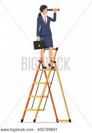 Businesswoman With Briefcase On Ladder Looking For Opportunities In Spyglass. Business Woman With Te