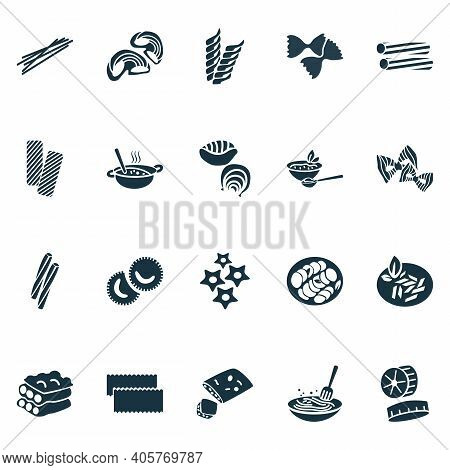 Traditional Meal Icons Set With Ravioli Pasta, Tortiglioni Pasta, Stelle Pasta And Other Shape Eleme