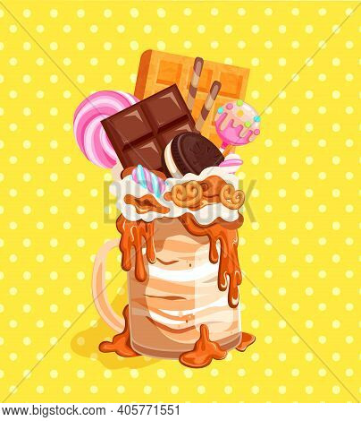 Giant Monsterhake With Chocolate, Waffles, Marshmallows And Candies On Vintage Background. Isolated