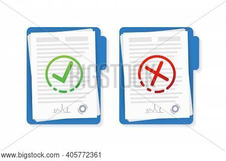 Flat Approved Rejected Document For Report Design. Vintage Vector Illustration. Flat Vector Illustra
