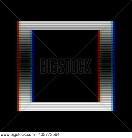 Vhs Glitch Square In Retro Style. Geometry Shape With Distortion Effect. Good For Design Promo Elect