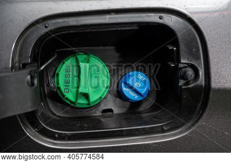 Seoul, South Korea - Jan 2021 : Adblue Diesel Exhaust Fluid Def And Diesel Fuel Tank Cap.