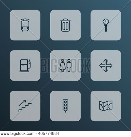 Direction Icons Line Style Set With Garbage, Train, Exclamation Sign And Other Navigation Elements.