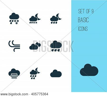 Climate Icons Set With Cloud, Rainy, Heavy Sleet Night And Other Synoptic Elements. Isolated Illustr