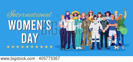 International Women's Day. Group Of Women With Various Occupations. Vector